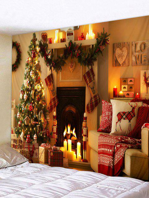 Christmas Tree Fireplace Printed Tapestry Wall Hanging Art Decor - ORANGE GOLD W91 X L71 INCH