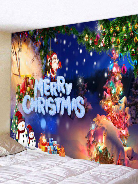 Christmas Tree Snowman Gifts Print Tapestry Wall Hanging Art Decoration - multicolor C W79 X L59 INCH