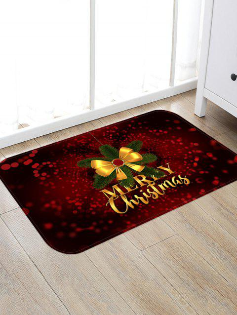 Christmas Bowknot Letter Print Floor Rug - FIREBRICK W24 X L35.5 INCH