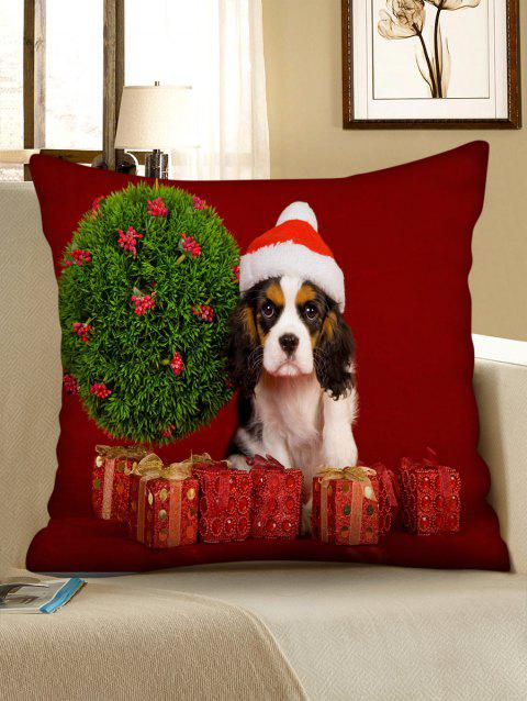 Christmas Gifts and Dog Print Decorative Pillowcase - multicolor W24 X L24 INCH