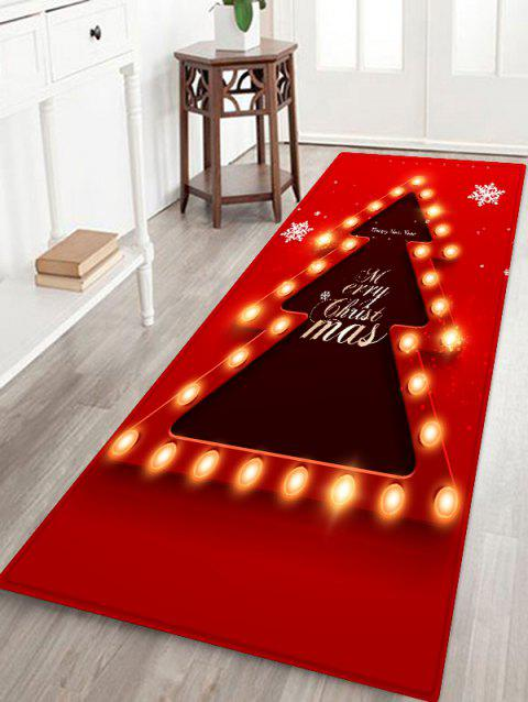 Christmas Tree Lights Greetings Pattern Water Absorption Area Rug - LAVA RED W24 X L71 INCH
