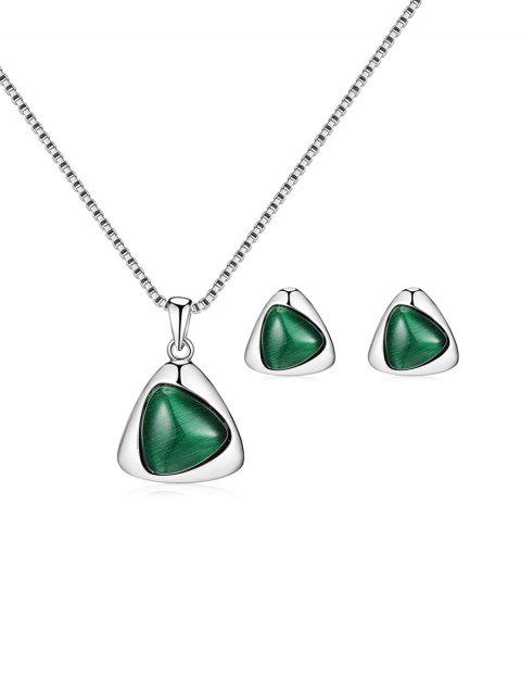 Faux Gem Geometric Evening Jewelry Set - SILVER