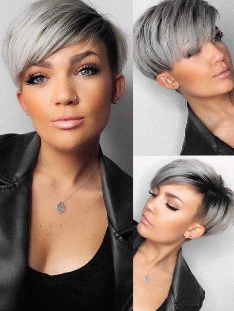 Ombre Synthetic Short Straight Side Part Wig - GRAY CLOUD 4INCH