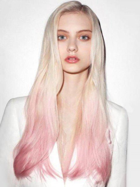 Side Part Long Wavy Ombre Synthetic Wig - WATERMELON PINK 24INCH
