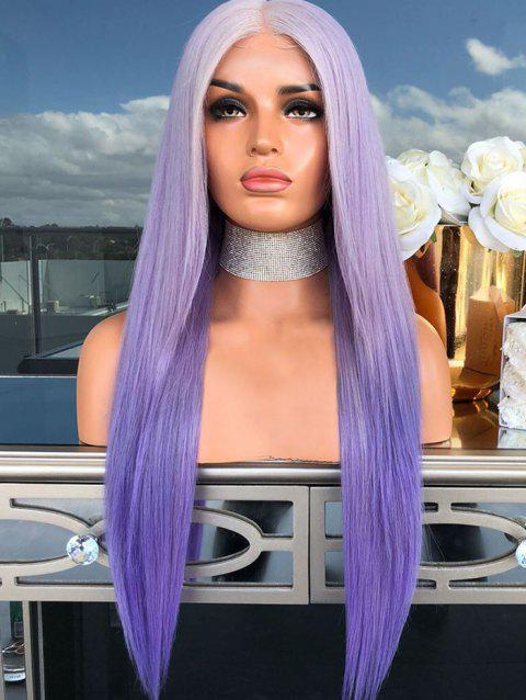 Ombre Long Synthetic Center Part Straight Wig - PURPLE DAFFODIL 22INCH