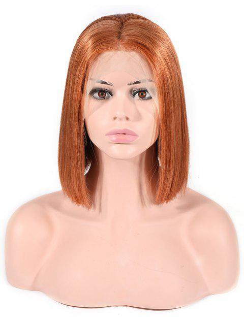 Bob Straight Center Part Ombre Human Hair Wig - COPPER 12INCH