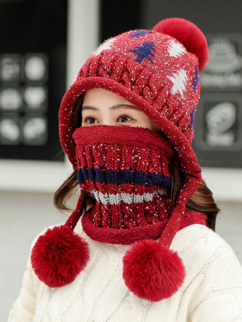 Christmas Tree Winter Knit Ear Bubble Hat - RED WINE