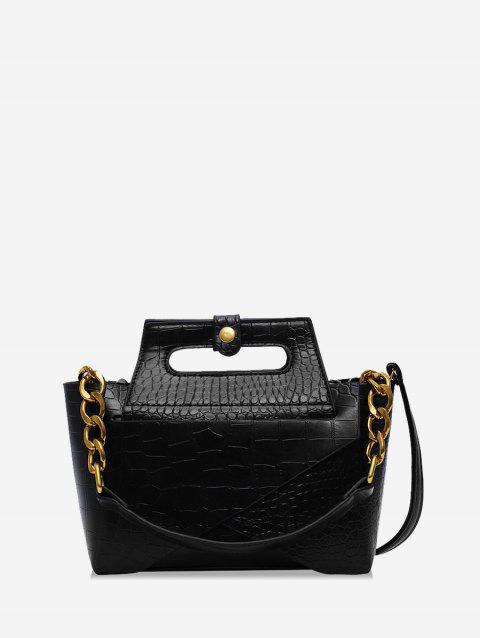 Chain Leather Embossed Handbag - BLACK