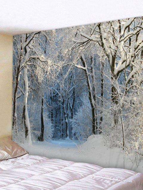 Snow Forest Trail Print Tapestry Wall Hanging Art Decoration - SILVER W59 X L51 INCH