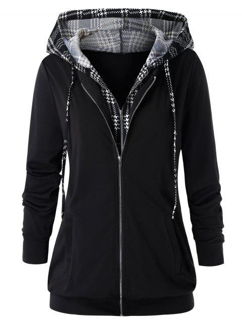 Plus Size Hooded Houndstooth Double Zipper Jacket - BLACK L