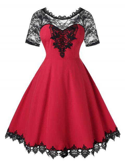 Plus Size Lace Insert Midi Fit and Flare Dress