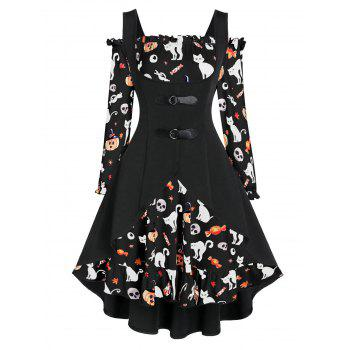 a line pumpkin print halloween dress with high low top
