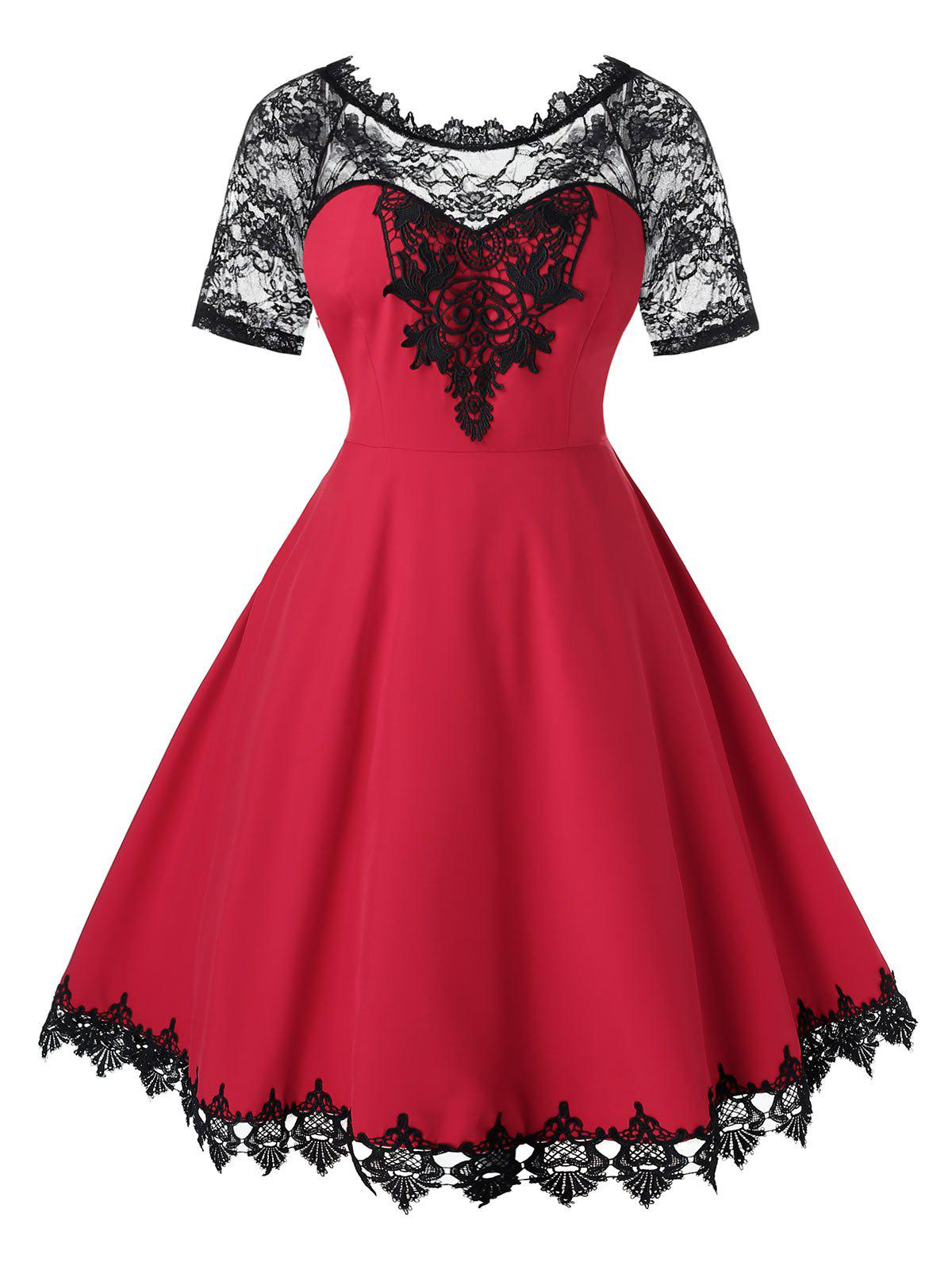 Plus Size Lace Insert Midi Fit and Flare Dress - RED WINE 4X