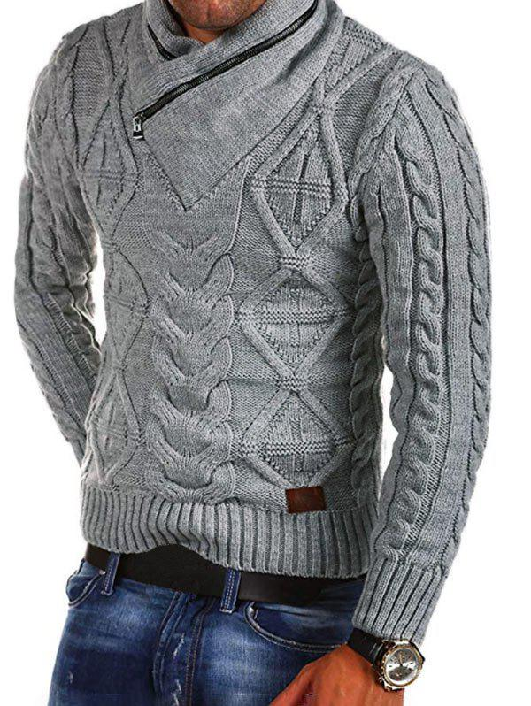 Cable Knit Zipper Turtleneck Sweater - GRAY M