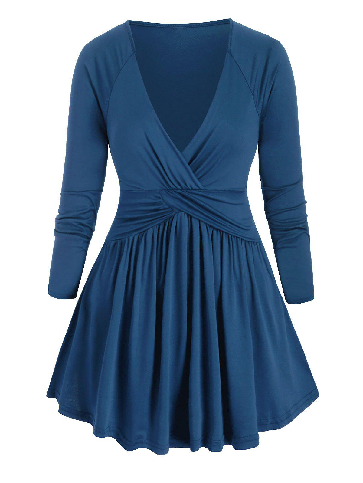 Cross Front Ruched Long Sleeve Plus Size Top - SILK BLUE 2X