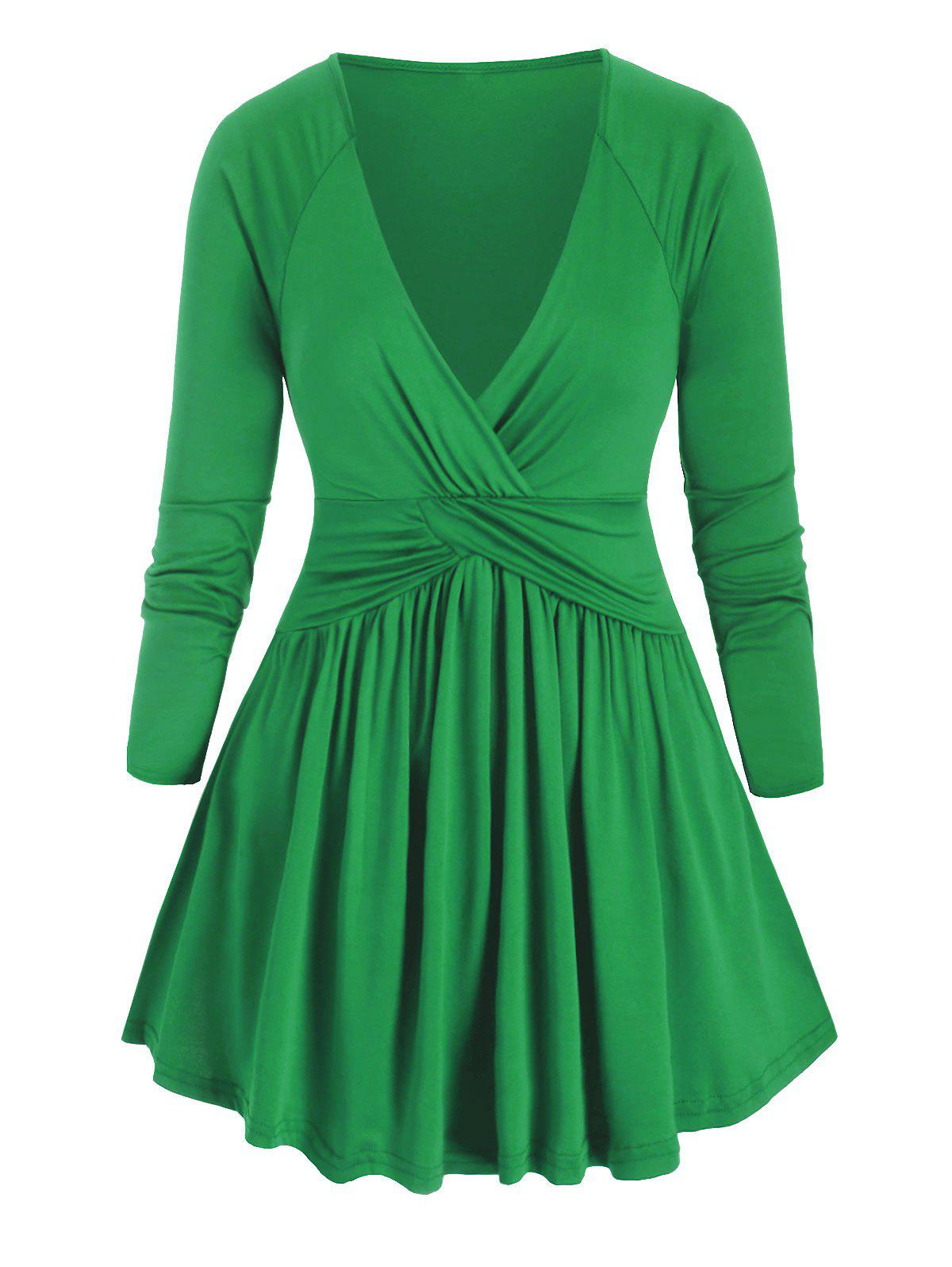 Cross Front Ruched Long Sleeve Plus Size Top - CLOVER GREEN 5X