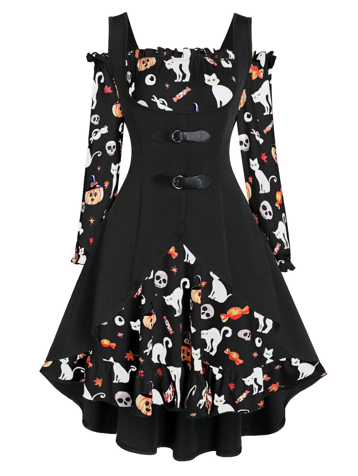 A Line Pumpkin Print Halloween Dress with High Low Top - NIGHT M