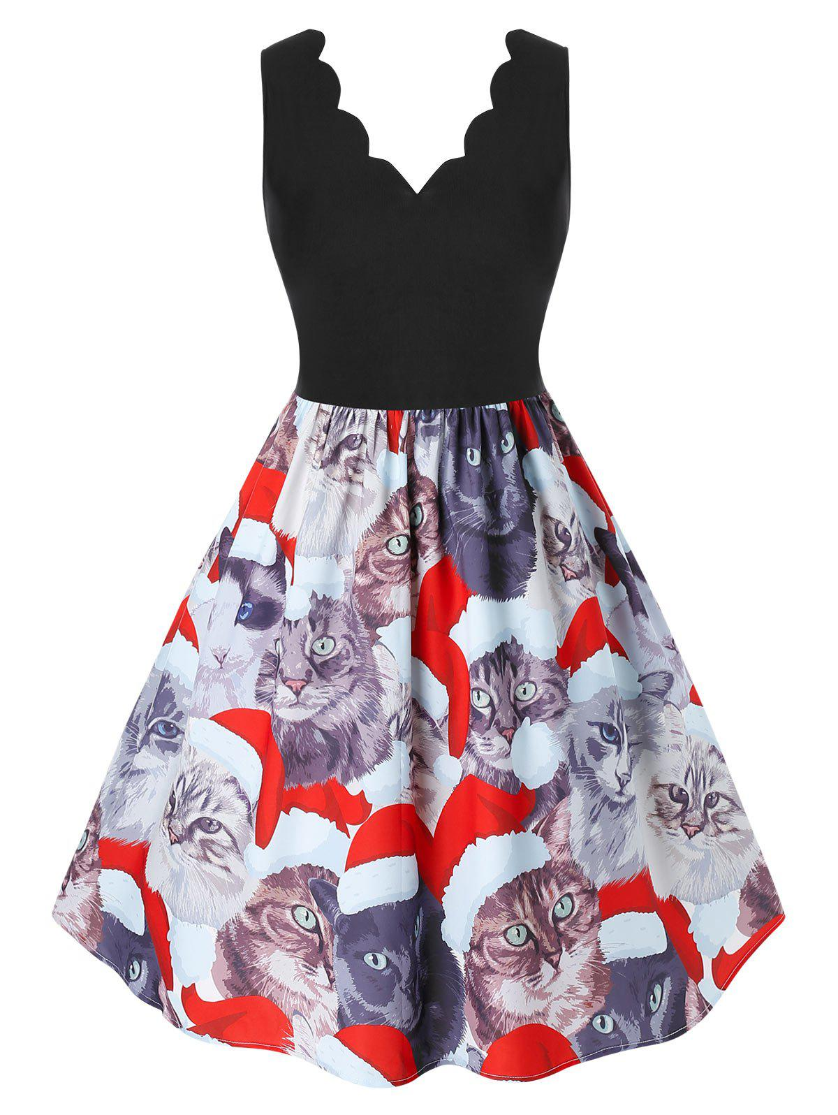 Plus Size Scalloped Cat Print Christmas Dress - multicolor 4X