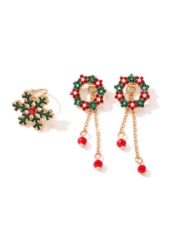 Christmas Floral Circle Earrings And Snowflake Ring Set - GOLD