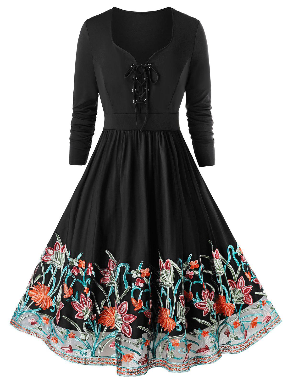 Plus Size Embroidered Lace Up Party Dress - BLACK 4X