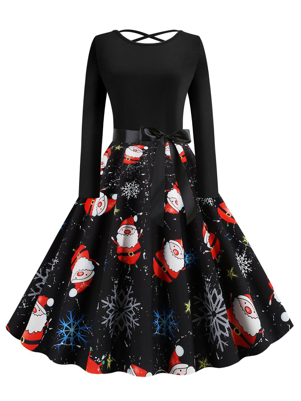 Lattice Christmas Santa Claus Snowflake Print Dress - BLACK XL