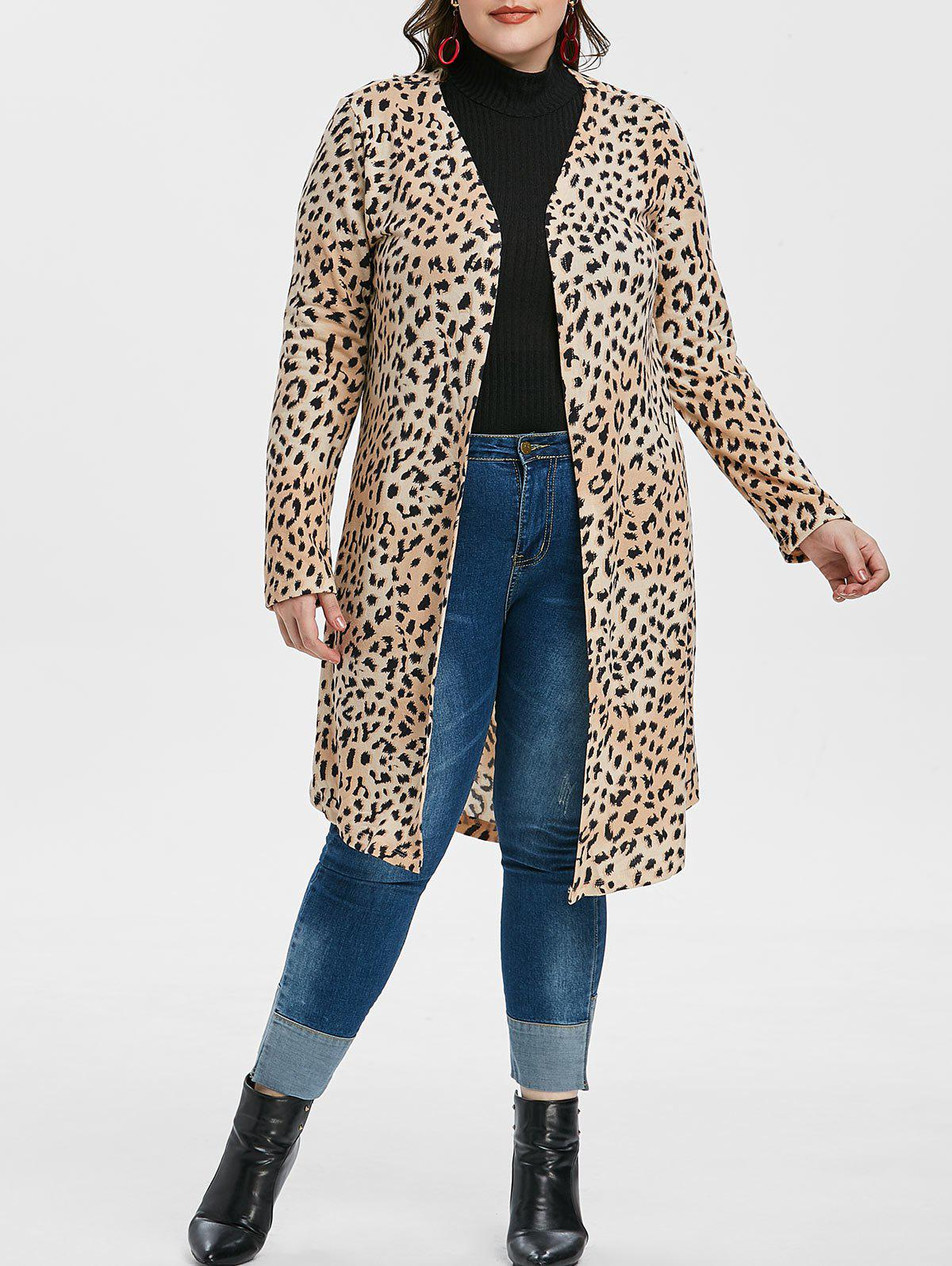 Plus Size Animal Print Open Front Longline Cardigan - multicolor B L