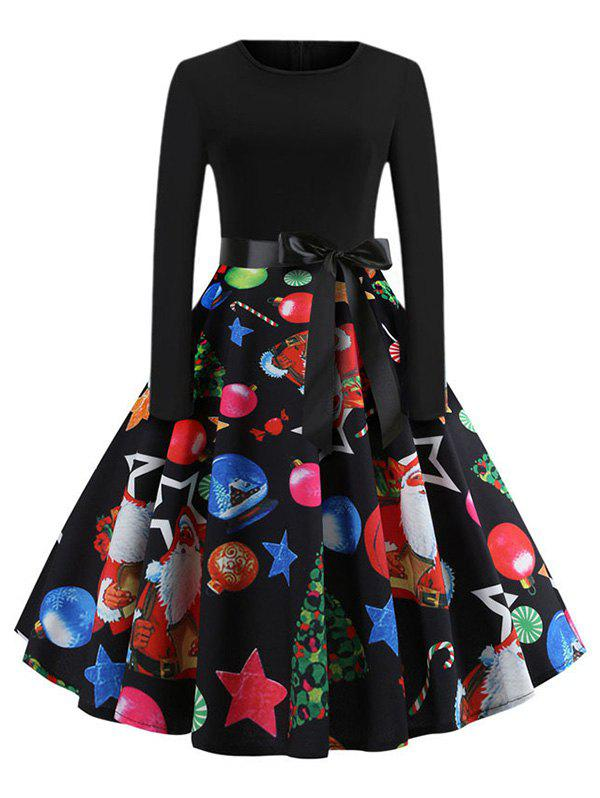 Santa Claus Snowman Christmas Belted A Line Dress - multicolor B XL