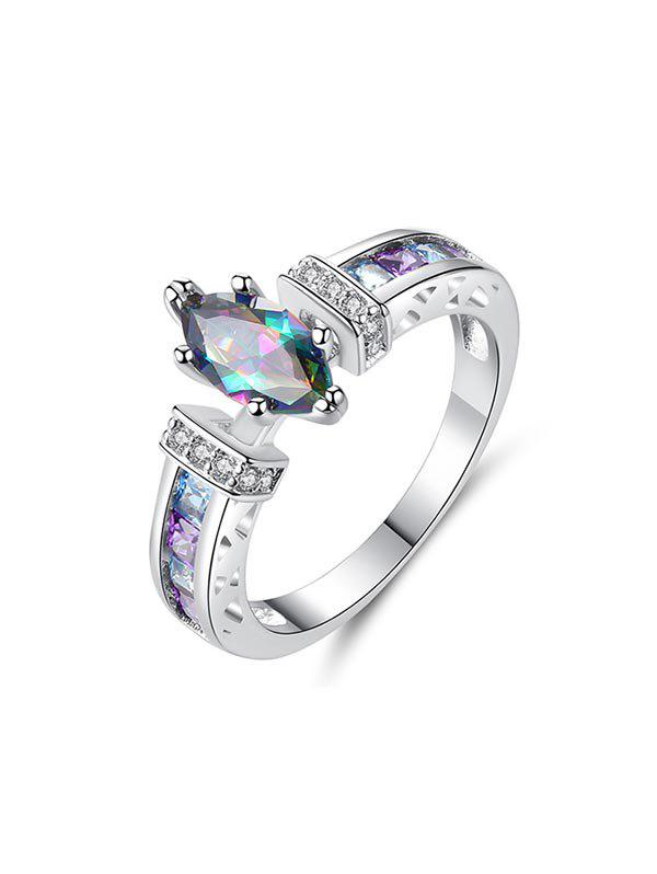 Colored Zircon Hollow Engagement Ring - SILVER US 9