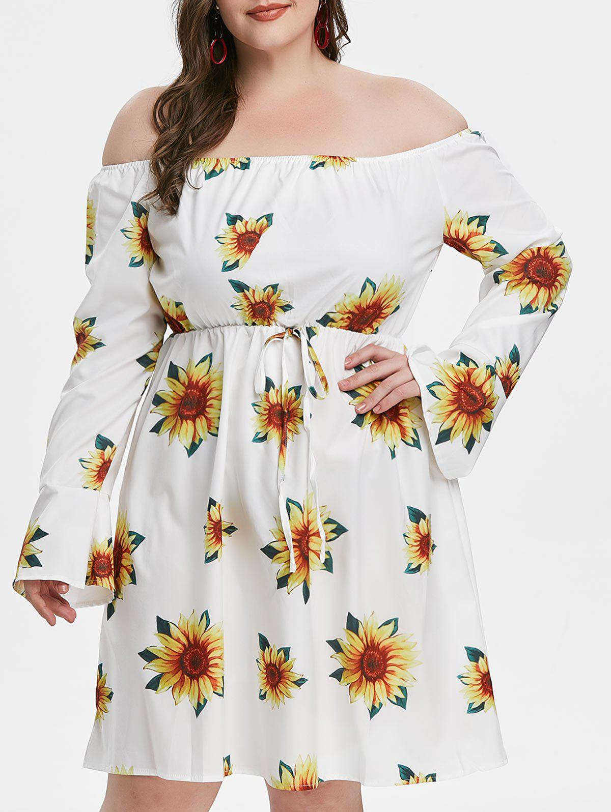 Plus Size Floral Print Off Shoulder Mini Dress - WHITE 1X