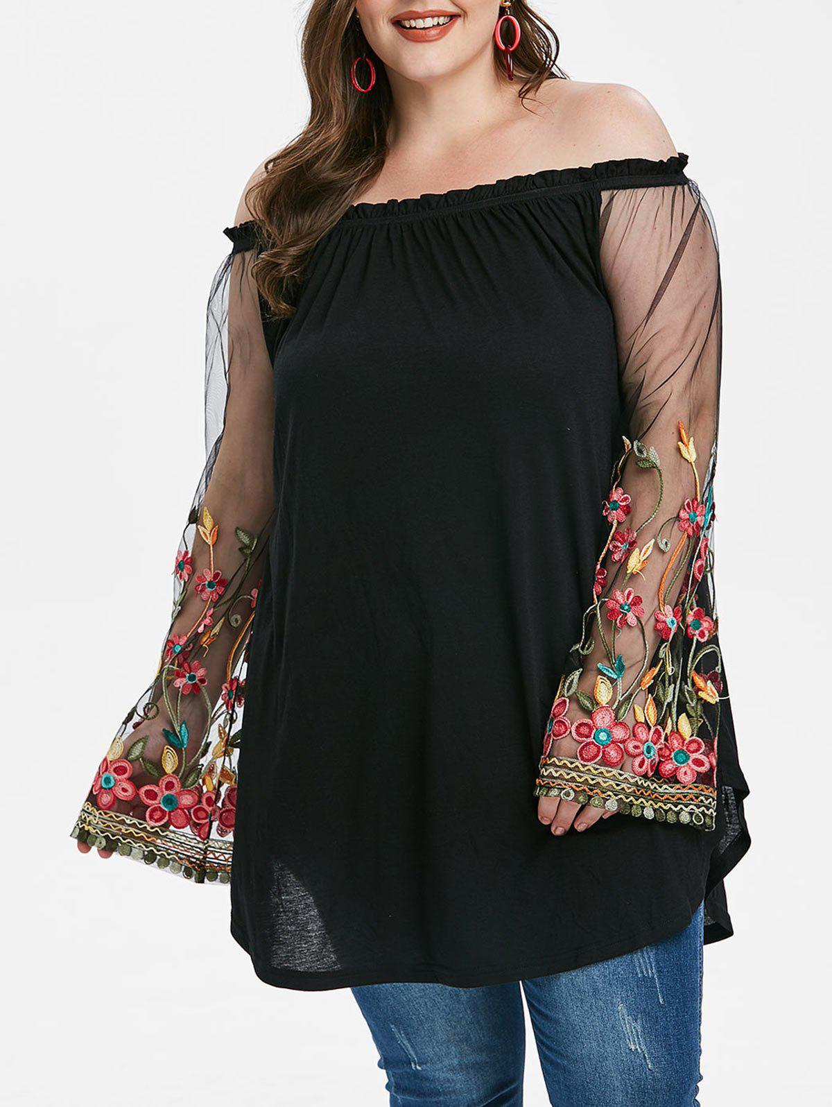 Plus Size Off The Shoulder Embroidered T-shirt - BLACK 1X