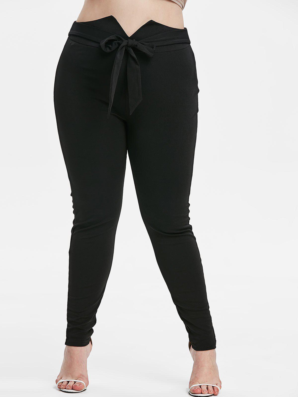 Plus Size Knot Front High Waisted Pep Leg Pants - BLACK 5X