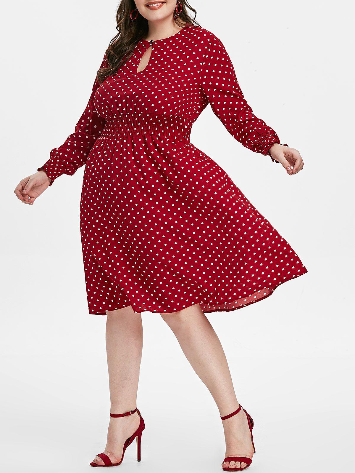 Polka Dot Keyhole Shirred Waisted Plus Size Dress - RED WINE 4X