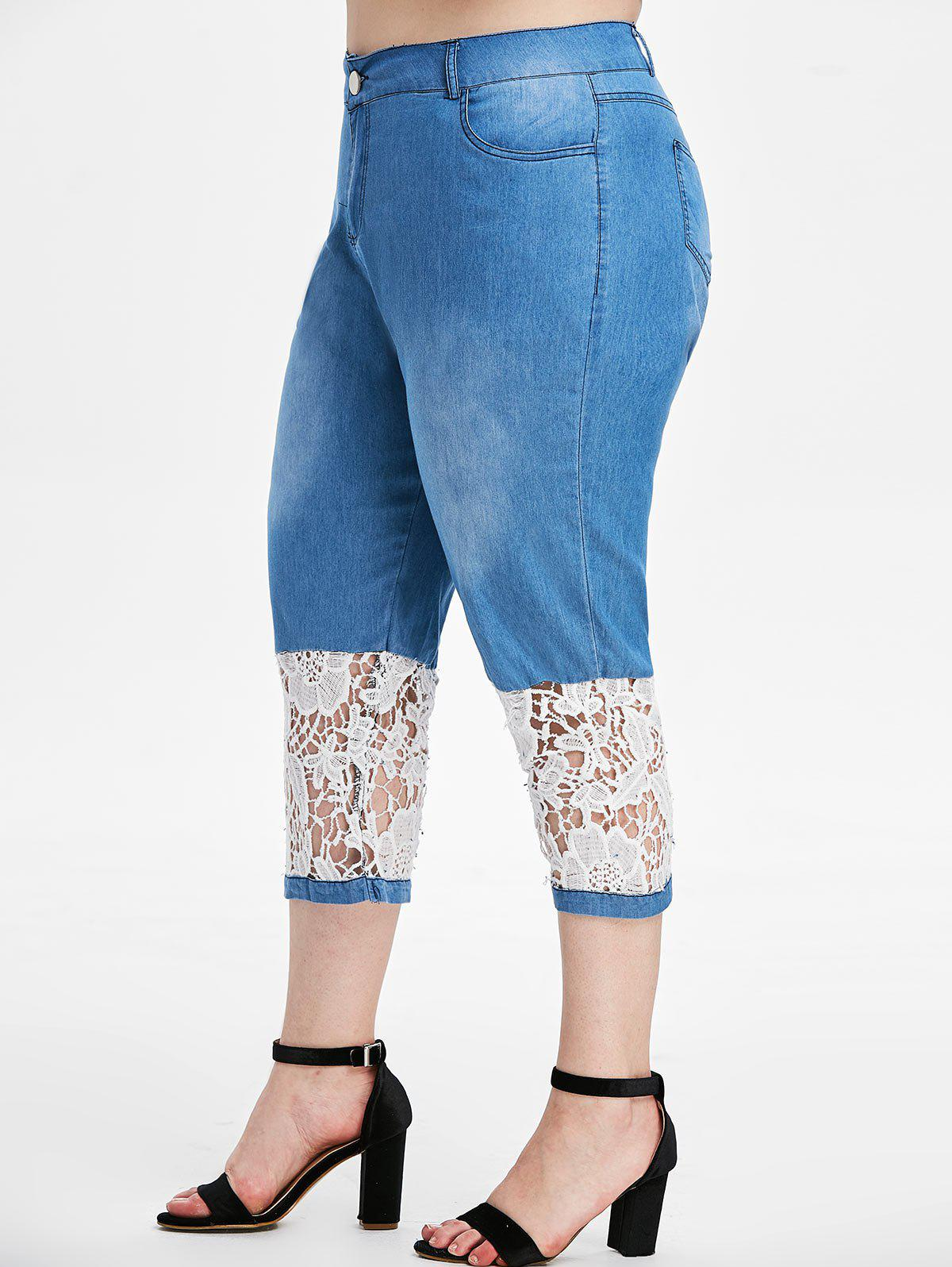 Plus Size Lace Insert Cropped Jeans - JEANS BLUE 1X