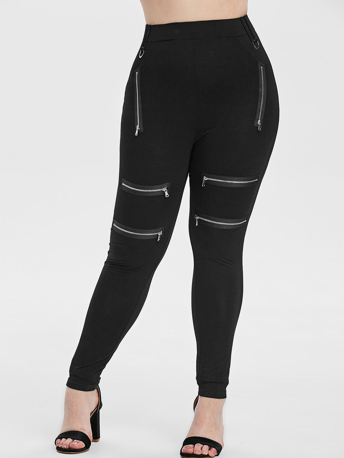 Plus Size Zipper Embellished Fitted Leggings - BLACK 3X