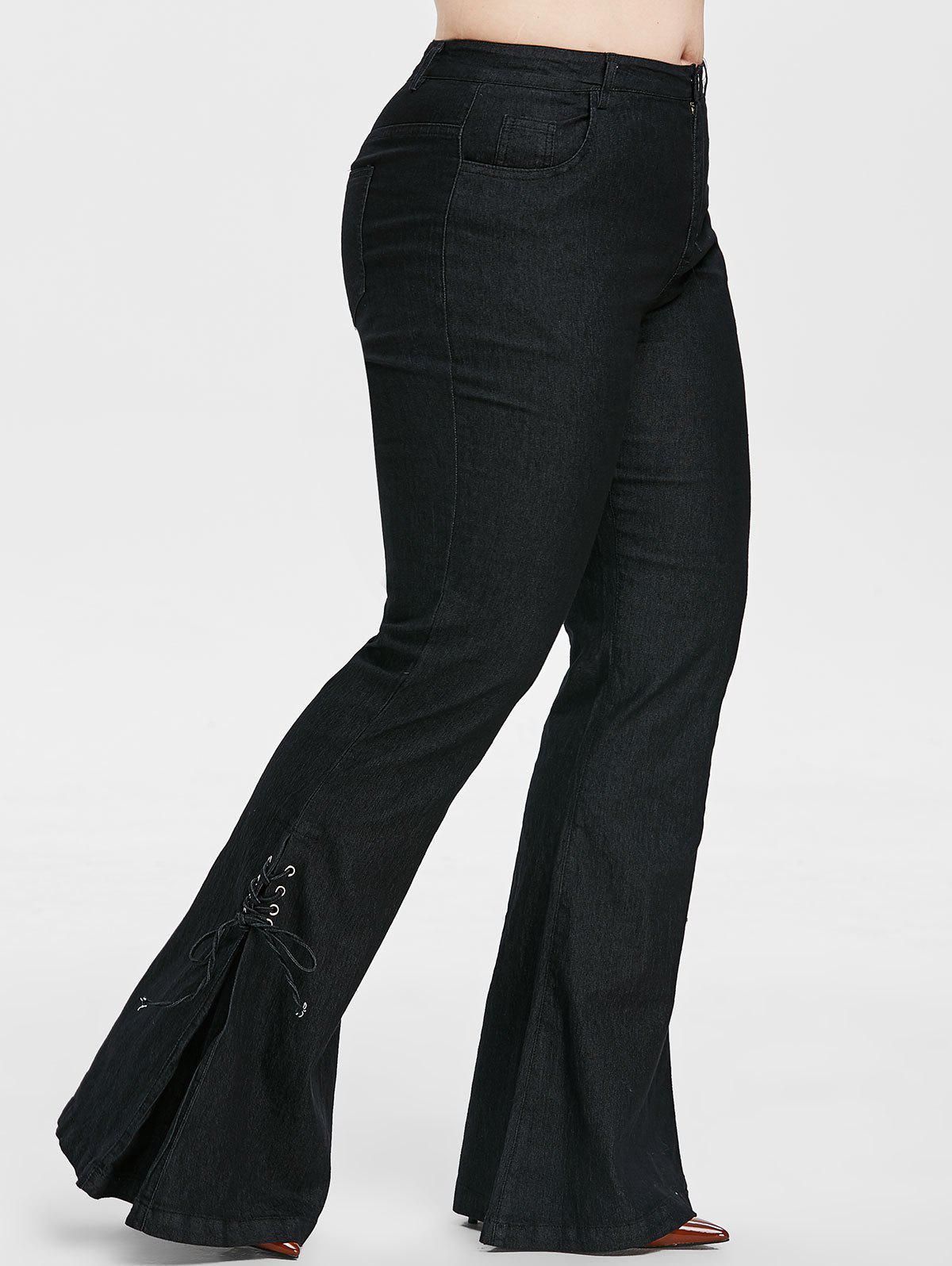 Plus Size Lace Up Bell Bottom Jeans - BLACK 4X