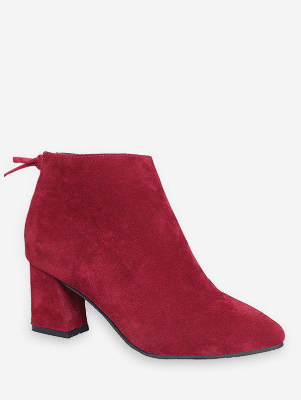 Solid Color Bowknot Decoration Casual Boots - RED WINE EU 39