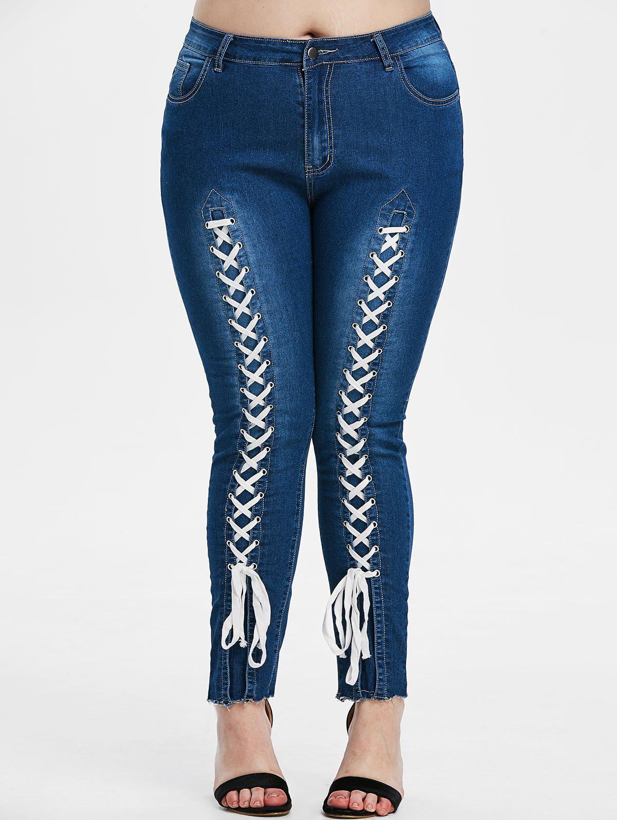 Plus Size High Waisted Lace-up Front Tapered Jeans - DENIM BLUE 5X
