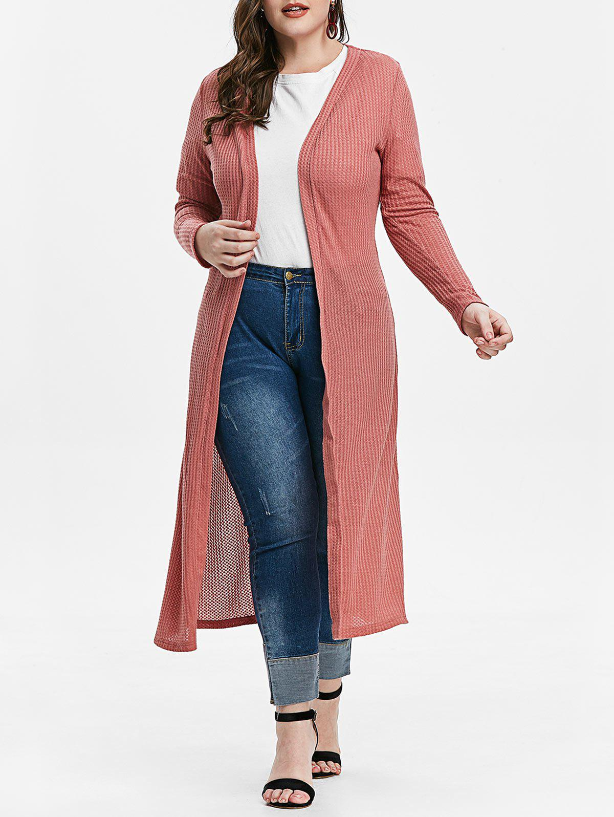 Plus Size Open Front Long Cardigan - LIPSTICK PINK L