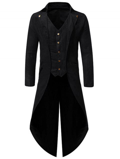 Button Decoration Long Sleeves Casual Blazer - BLACK M