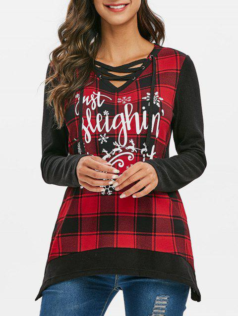 Christmas Elk Plaid Lace Up Asymmetrical Knitwear