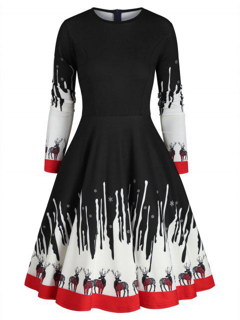 Reindeer Snowflake Christmas A Line Dress
