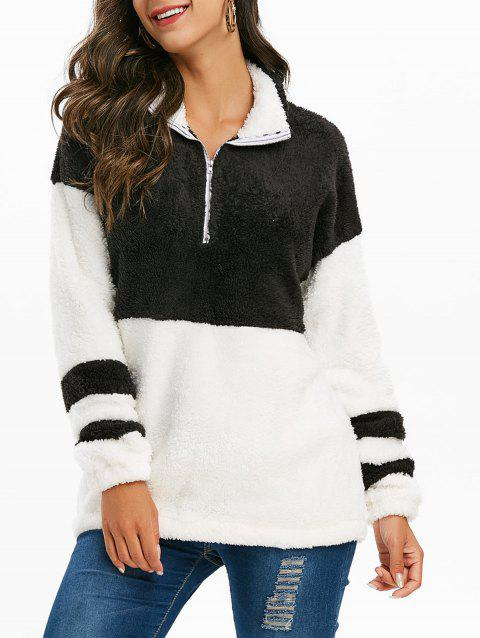 Half Zip Faux Fur Colorblock Longline Sweatshirt