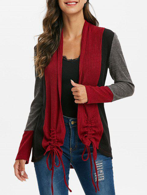 Contrast Ribbed Cinched Open Front Knit Coat