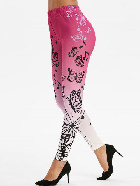 Musical Notes Butterfly Print Skinny Leggings - multicolor A 2XL