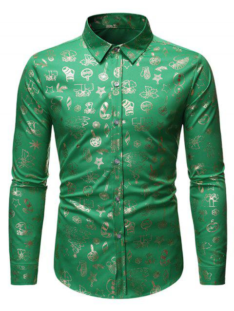 Christmas Pattern Allover Print Long Sleeve Button Shirt