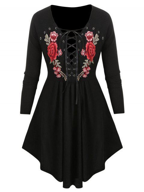 Plus Size Embroidered Lace Up Knitwear - BLACK 5X