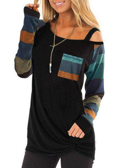 Skew Neck Contrast Twisted Pocket Knitwear - BLACK 3XL