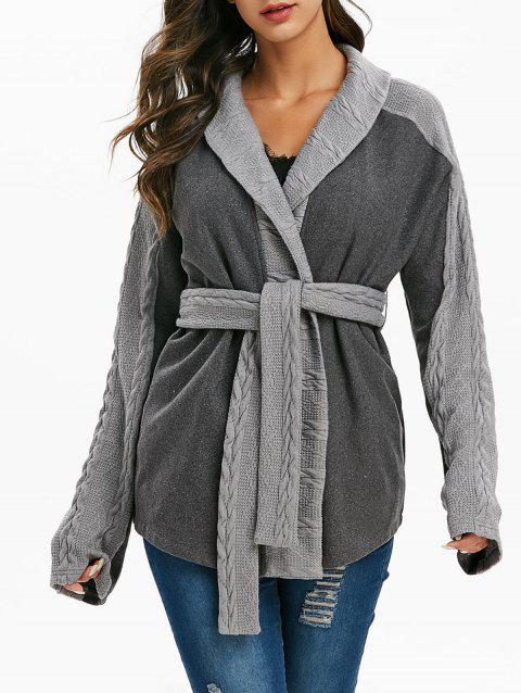 Belted Cable Knit Trim Heathered Coat