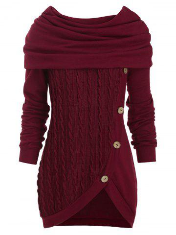 Cowl Neck Mock Button Cable Knit Knitwear