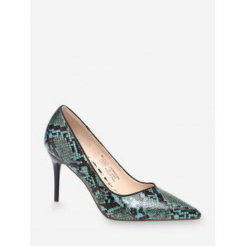 High Heel Snake Pattern Faux Leather Pumps